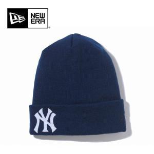 NEWERA ニューエラ ニットキャップ Basic Cuff Knit Team Logo/ ニューヨーク・ヤンキース/ ネイビー ビーニー(メール便対象・代引不可)|highball