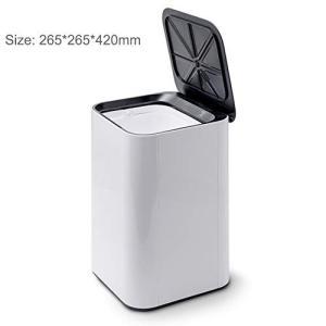 バケツクリエイティブインダクションワンフットオープンゴミ箱電池ホームリビングルームキッチン360°スマートABS樹脂、ステンレススチール、ホワイトの商品画像|ナビ