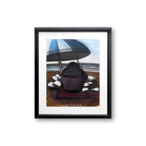 ポスター 額付 デイビッド・ロス/day at the beach アメリカ 絵画 アート 壁掛け David Ross プレゼント 贈り物 highspirits-art