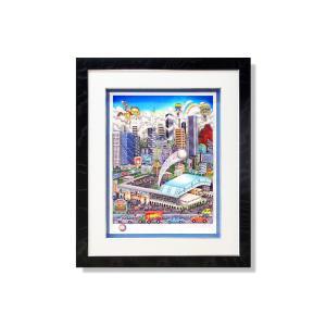 版画 額付 チャールズ・ファジーノ/MLBオールスターinヒューストン 3Dアート charles fazzino 版画 野球 MLB メジャー メジャーリーグ アート art ヒューストン highspirits-art