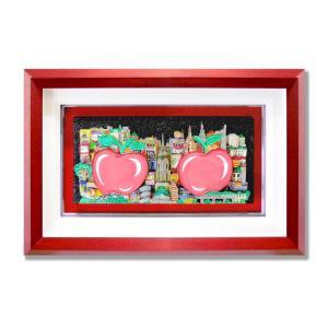 オリジナル 額付 チャールズ・ファジーノ/ダブル・アップル 3Dアート ニューヨーク charles fazzino 版画  アート art アメリカ アップル ハート|highspirits-art
