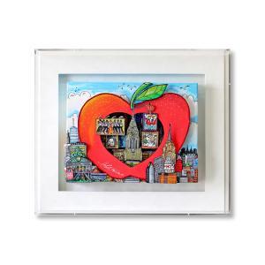 オリジナル 額付 チャールズ・ファジーノ/ハート・イン・ジ・アップル 3Dアート ニューヨーク charles fazzino 版画  アート art アメリカ アップル ハート|highspirits-art