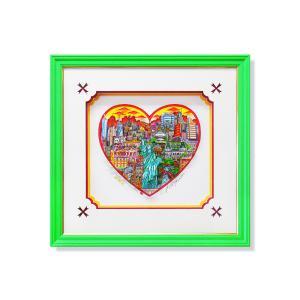 シルクスクリーン 額付 チャールズ・ファジーノ/リバティ・イン・ハート 3Dアート ニューヨーク charles fazzino 版画  アート art アメリカ ハート 自由の女神|highspirits-art