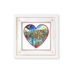 シルクスクリーン 額付 チャールズ・ファジーノ/ナイト&デイ・ニューヨーク 3Dアート ニューヨーク charles fazzino 版画  アート art アメリカ ハート|highspirits-art