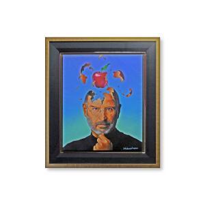 版画 額付 ジム・ウォーレン/Steve Jobs Brainstorming アメリカ キャンバス 絵画 アート ジクレー 壁掛け Jim Warren ジョブズ|highspirits-art