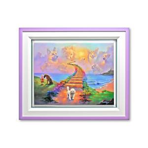 版画 額付 ジム・ウォーレン/Finding the Rainbow Bridge アメリカ キャンバス 絵画 アート ジクレー 壁掛け Jim Warren 犬 highspirits-art
