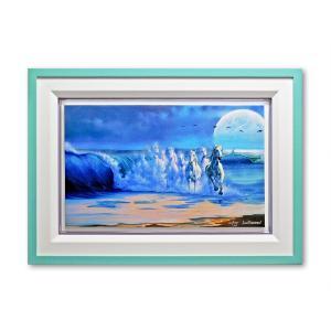 版画 額付 ジム・ウォーレン/The Wave With the Moon アメリカ キャンバス 絵画 アート ジクレー 壁掛け Jim Warren highspirits-art