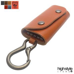 キーケース 栃木レザー 4連馬蹄フック カラビナ付き ツインドットカバーキーケース|highstyle