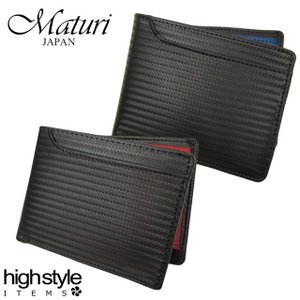 二つ折り財布 バイカラー メンズ レディース 本革 Maturi カーボンレザー 牛革 ボックス型小銭入れ 二つ折り財布|highstyle