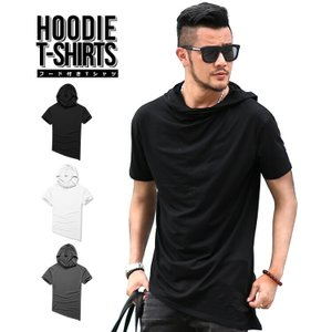 Tシャツ メンズ フード付き 半袖 無地 綿 大きいサイズ 半袖tシャツ ロング丈 白Tシャツ スリム 斜め裾|highwave