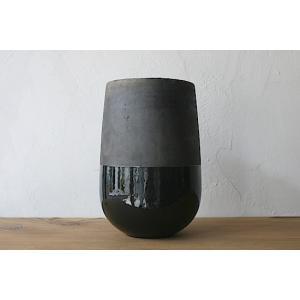 DOMANI ドマーニ 花器 ブラック×grey 直径15,高さ24cm ミンスクベース24 ベルギ...