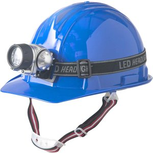 LEDヘッドライト付家庭用防災ヘルメット 青 HRH02-B hihshop