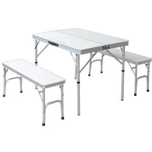 TENT FACTORY(テントファクトリー) デュアルテーブルセパレートセット ホワイト テーブル(90×65×68(35)cm) チェア(87×25×40cm)×2脚 TF-DFS9065-3-WH|hihshop