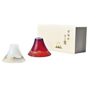 杯 招福杯 富士山 冷酒杯揃え 金白・金あかね 日本製 65ml×2|hihshop