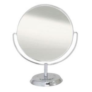 鏡 卓上ミラー 丸型 両面 拡大鏡約5倍付 NO.5880 シルバー hihshop
