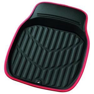 車用マット フロアマット ボンフォーム カーマット バケットマット 前席用 S 3Dレザーマット ブラックXレッド フロント1枚 46x60cm 軽自動車用 6416-31RE|hihshop