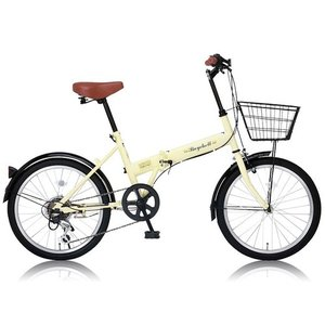 折りたたみ自転車 自転車本体 Raychell(レイチェル) 20インチ 折りたたみ 自転車 FB-206R シマノ6段変速 フロントLEDライト付 [メーカー保証1年] アイボリー|hihshop