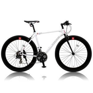自転車本体 カノーバー クロスバイク 700C シマノ21段変速 CAC-024 (HEBE) ディープリム クロモリフレーム フロントLEDライト付 [メーカー保証1年]|hihshop