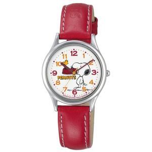 [シチズン キューアンドキュー]CITIZEN Q&Q 腕時計 PEANUTS(ピーナッツ)スヌーピー キャラクターウォッチ アナログ表示 レッド AA95-9852 レディース|hihshop