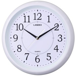 LANDEX(ランデックス)壁掛け時計 スタンダードワン 連続秒針 ホワイト YW9124WH|hihshop