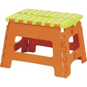 東谷 AZUMAYA クラスタースツール 折りたたみ式踏み台 踏み台 ステップ Mサイズ オレンジ色...
