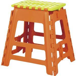 東谷 AZUMAYA クラスタースツール 折りたたみ式踏み台 踏み台 ステップ Lサイズ オレンジ色...