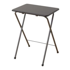 サイドテーブル テーブル 山善(YAMAZEN) テーブル ミニ 折りたたみ式 サイドテーブル 幅50×奥行48×高さ70cm ハイタイプ ミドルブラウン YST-5040H(MBR/MBR)の写真