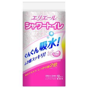 トイレットペーパー トイレ用品 文具 日用品 エリエール トイレットペーパー シャワートイレットティシュー 23m×12ロール ダブル パルプ100% ピンク|hihshop