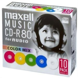 CDーRW 録音用 CDーR メディア オーディオ機器 maxell 音楽用 CD-R 80分 カラーミックス 10枚 5mmケース入 CDRA80MIX.S1P10S|hihshop