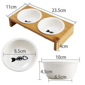 食べやすい iikuru 猫 食器 可愛い 猫用 餌入れ 水飲み 水入れ 皿 セラミック ねこ 水 えさ 入れ ボウル スタンド 子猫 食