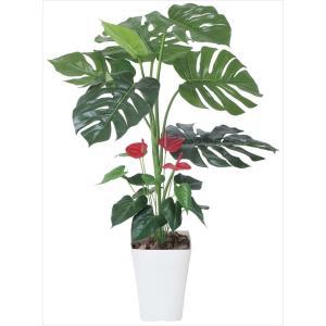 光触媒人工観葉植物 モンステラ&アンスリューム 95|hikarinorakuen