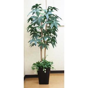 光触媒 人工観葉植物  パキラ(下草付)1.3m|hikarinorakuen