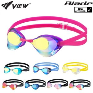 スイミングゴーグル 競泳 レーシング VIEW ビュー Blade ブレード FINA承認 競泳 ミラーゴーグル ノンクッション V121MR