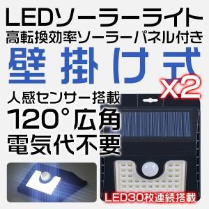 特売 ソーラーライト センサーライト 人感センサー 30灯 屋外 太陽光発電 自動点灯 充電不要 防水 防犯 庭 壁 ガーデン 玄関 LED ライト 常夜灯 送料無 2個SL30