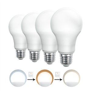 LED電球 E26 60W形 一般電球形 魔術電球 ワンクリックで色変更可能 広配光 調色タイプ 昼光色/電球色/昼白色切替え 節電 PSE ledランプ 5年保証 4個SE|hikaritrading1