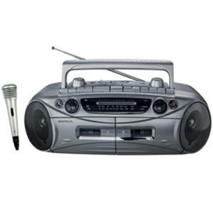 WINTECH AM/FM/SW 短波 搭載 マイク付ダブルラジカセ シルバー  FMワイドバンドモデル  WCT-1MY
