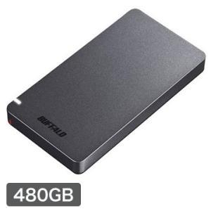 バッファロー 小型ポータブルSSD USB3.2 Gen2対応 耐振動 耐衝撃 名刺サイズ 480G...