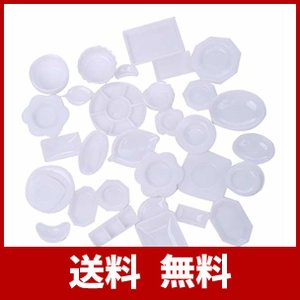 tomtask ドールハウス ミニチュア プラスチックプレート お皿セット 33点セット 1/12 ...