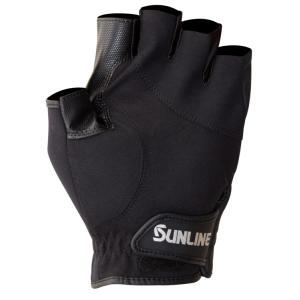 サンライン ネオプレーングローブ  SUG-402(5本) ブラック×ブラック 手袋 5本指カットSUNLINE  Neo-PLAIN Glove|hikoboshi-fishing|03