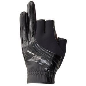 サンライン ネオプレーングローブ  SUG-412(3本) ブラック×ブラック 手袋 3本指カットSUNLINE  Neo-PLAIN Glove hikoboshi-fishing 02