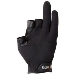 サンライン ネオプレーングローブ  SUG-412(3本) ブラック×ブラック 手袋 3本指カットSUNLINE  Neo-PLAIN Glove hikoboshi-fishing 03