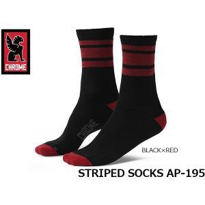 クローム 靴下 STRIPED SOCKS ストライプド ソックス AP-195 BLACK×RED CHROME AP195BKRD 国内正規品|hikyrm
