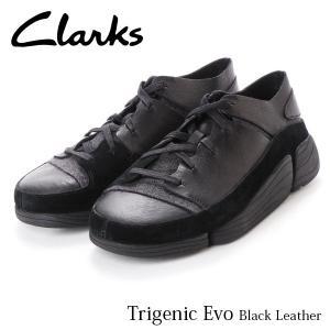 クラークス CLARKS メンズ スニーカー トライジェニックイーヴォ ブラックレザー レザー 本革 ローカット ファッション 革靴 26128326 CLA26128326 国内正規品|hikyrm