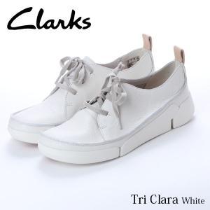 クラークス CLARKS トライクララ レディース レザースニーカー カジュアル シューズ ホワイト 白 本革 レースアップ 革靴 26138569 CLA26138569 国内正規品|hikyrm