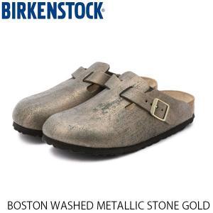 ビルケンシュトック メンズ レディース サンダル ボストン BOSTON WASHED METALLIC STONE GOLD 幅狭 BIRKENSTOCK GC1014375 国内正規品|hikyrm