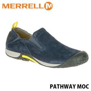 メレル メンズ レザー スリッポン パスウェイ モック ネイビー アウトドア ウォーキング 登山 スニーカー シューズ 靴 男性用 MERRELL 575519 MERM575519 hikyrm