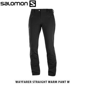 SALOMON サロモン レディース ソフトシェルパンツ WAYFARER STRAIGHT WARM PANT W ハイキングパンツ 裏起毛 アウトドア L40375100 SAL0690|hikyrm