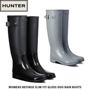 HUNTER ハンター レディース レインブーツ 長靴 Womens Refined Slim Fit Gloss Duo Rain Boots 梅雨 おしゃれ 防水 レイン WFT2033DUO 国内正規品|hikyrm