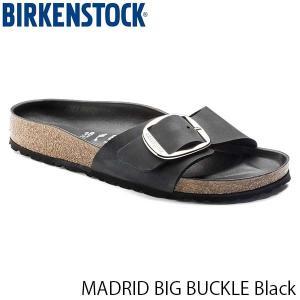 ビルケンシュトック サンダル レディース マドリッド ビッグバックル オイルドレザー 幅狭 ブラック 黒 BIRKENSTOCK GC1006523 国内正規品|hikyrm