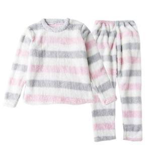 Teddy ルームウェア レディース 冬 長袖パジャマ もこもこ 上下セットアップ 暖かい roomwear069 (グレー×ピンク, M) hilife
